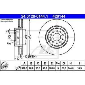 Преден спирачен диск ATE 24.0128-0144.1 316мм Volvo D5 S60 V70 XC70 S80 XC90 2001-2008